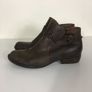 Born Brown Leather Buckle Ankle Booties